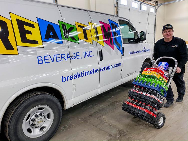 Breaktime Beverage delivering a bulk order to a customer.